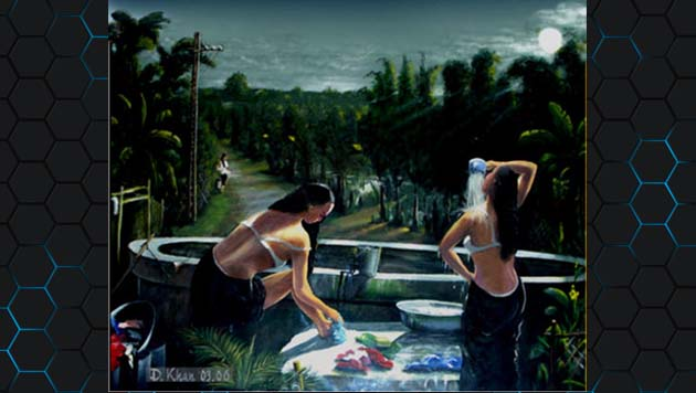 Tranh nghe thuat - the girl bath under moon 1